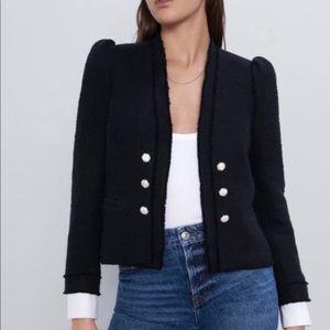Zara Tweed Poplin Black Blazer Jacket L